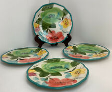 """The Pioneer Woman 8.5"""" Turquoise Floral Salad Plates, Stoneware Set Of 4"""