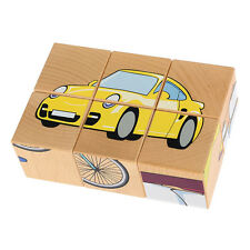 Pictures Cube Wooden Puzzle - Vehicles • Ecological PILCH Toy 2yrs