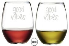 GOOD VIBES Set Of 2 Etched Stemless Red White Wine Glasses Monogrammed Engr