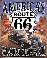 ROUTE 66 AMERICA AMERICAN HIGHWAY BIKER MOTORCYCLE METAL PLAQUE SIGN N446
