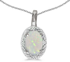 14k White Gold Oval Opal and Diamond Pendant (no chain) (CM-P2615XW-10)