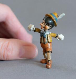 RARE Vintage COLD PAINTED BRONZE Miniature PINOCCHIO Marionette SCULPTURE Figure