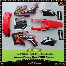 APOLLO Style RED PLASTICS + STICKER KIT DIRT Dirt PIT Bike Giovanni GIO 125CC