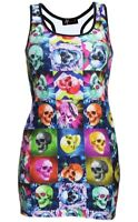 Multi Psychedelic Checker Square Skulls Floral Print Long Vest Top Alternative