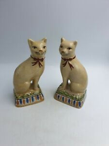 CHINESE? SITTING CAT FIGURINES HAND PAINTED PORCELAINCRACKLED EFFECT -PAIR