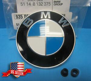 GENUINE BMW Hood Trunk Emblem Roundel w/ Grommets INCL.- 82mm (OEM# 51148132375)