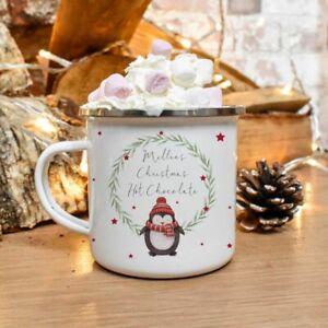 Personalised Penguin Wreath Tin Mug/Cup Tea Coffee Gift Any Name Xmas Present