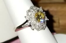 Ross Simons 14k White Gold Bright Yellow clear cz antique style Engagement ring