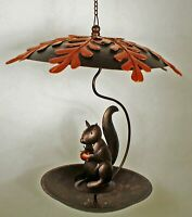BIRD FEEDERS - SQUIRREL WITH ACORN BIRD FEEDER - GARDEN DECOR
