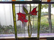 STAINED GLASS WINDOW PANEL AMARYLLIS