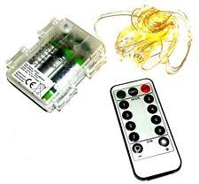 50er LEDs Micro Drahtlichterkette Lichterkette warmweiß Timer Fernbedienung