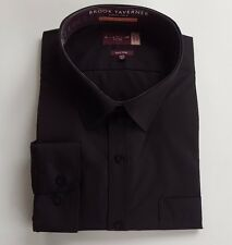 BROOK TAVERNER PLAIN BLACK  FORMAL SHIRT LONG SLEEVED COTTON RICH 19.5 EASY IRON