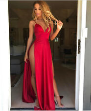 Red & Pink Satin Slit Plunge Strappy Plunge Maxi Dress Sizes 6-12 Boutique