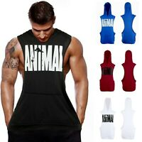 Men's Fitness Gym Print Bodybuilding Workout Muscle Sleeveless Hoodies Tank Top