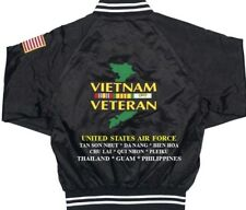 U.S. AIR FORCE VIETNAM VETERAN AIR BASES W/SHOULDER FLAG*2-SIDED SATIN JACKETS