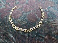 """Unique Fancy  Link Bracelet SOLID 14mk White and Yellow Gold 7 3/4"""" 18.4 gr"""