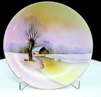 "MEITO CHINA JAPAN HAND PAINTED WINTER RIVER SCENE 6 3/8"" SIDE PLATE"