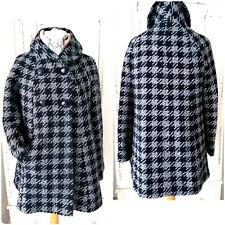 TU Winter Coat Size 12 Wool Mix Black Grey Swing Double Breasted
