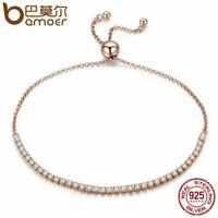 BAMOER Real S925 Sterling silver Women Gold Bracelet Elegantly & Pave CZ Jewelry