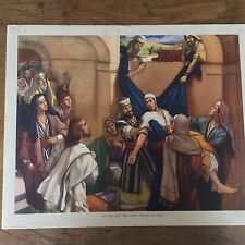 Vintage Enid Blyton Bible Picture Poster The Man who came down through the roof