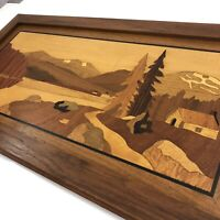 Marquetry Landscape Framed Art Inlaid Wood Mountain Cottage Decor