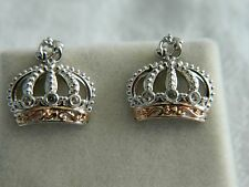 Clogau Sterling Silver & 9ct Rose Welsh Gold Royal Crown Topaz Stud Earrings