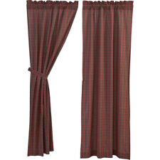 "Tartan Red Plaid Lined Country Curtain Panel Set by VHC Brands - 84"" x 40"""