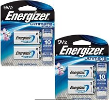 4 Energizer Ultimate Lithium 9 volt Battery (2 pack x2) Exp.12/2028 Factory Pack