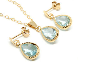 9ct Gold Blue Topaz Teardrop Earrings and Pendant Necklace set Gift Boxed