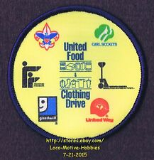 LMH PATCH Badge  BOY GIRL CUB SCOUTS Goodwill BSA GSA UNITED FOOD CLOTHING Drive