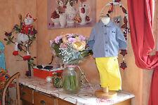 chemise neuve ikks carreaux 6 mois plus pantalon jaune 6 mois ikks e/neuf