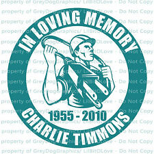 PERSONALIZED IN LOVING MEMORY VINYL DECAL W/ ELECTRICIAN STICKER NAME & YEARS