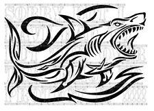 Tiburón tribal en olas DECAL STICKER VINYL raya lateral Surf Marine T25 T4 T5 Vito