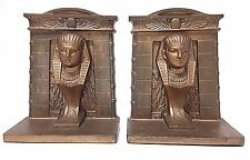 Vintage 1920's B&H Bradley & Hubbard Egyptian Pharaoh Tomb Cast Iron Bookends