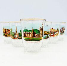 Vintage Retro French Glass Set 6 Shot Glasses Scotland