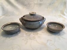 Spectacular Vintage Handmade Pottery-Lidded Soup Tureen With 2 Bowls-Signed