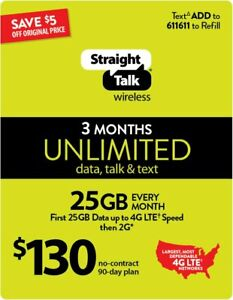 130 Straight Talk 90day-3month Ultimate Unlimited