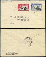 GILBERT + ELLICE Is NUKULAELAE LARGE CIRCLE CANCELS 1940 + REGISTERED HANDSTAMP