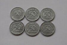 WEIMAR: Komplettsatz 50 Pfennig 1920, J. 301, A-D-E-F-G-J, stempelglanz !!!