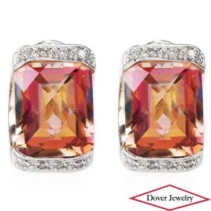 Estate Diamond 14.56ct Mystic Topaz 14K Gold Elegant Stud Earrings 8.6 Grams NR
