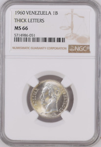 1960 Venezuela 1B NGC MS 66, Thick Letters Witter Coin