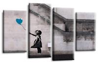 Banksy Canvas Art Balloon Girl Teal Black Grey White Graffiti Split Picture
