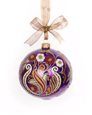 "Jay Strongwater 4"" Paisley Artisan Glass Christmas Ornament New MSRP $225.00"