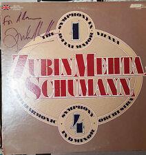 *SIGNED* ZUBIN MEHTA ALBUM LP SCHUMANN SYM. #4  VIENNA PHILHARMONIC - RARE!