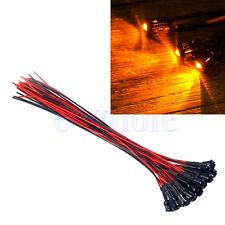 5 x Pre-Wired Orange LED 3mm Clear 12V DC 20cm Cable Plastic Holders TW