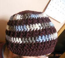 Mens TEEN Crochet SKI Hat CAP Beanie USA-Handmade Brand New BROWN BLUE-FREE S