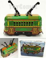 MS252 Tram Trolley Vehicle Car Retro Clockwork Wind Up Tin Toy w/Box