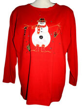NU Dimensions Womens OneSize 2X Top Red Embellished Applique Snowman Rhinestones