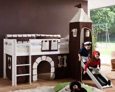 Hochbett ALEX Kinderbett mit Rutsche Spielbett Bett Weiß Stoffset Burg
