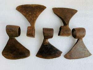 Set Of 5 Vintage Old Indian Iron Forged Head Axe Woodworking Handcrafts Hatchet